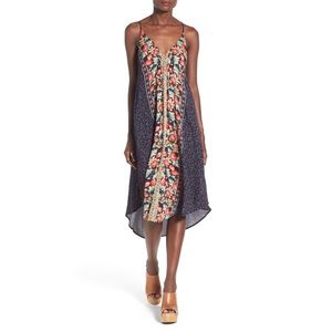 ASTR Strappy Gathered Front Floral Midi Dress